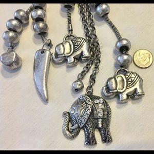 Jewelry - elephant necklace, silver bracelet and earrings
